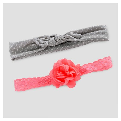 Baby Baby 2pk Girls' Floppy Bow and Jersey Headwrap - Just One You™ Made by Carter's® Pink/Gray