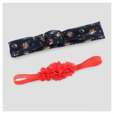 Baby Girls' 2pk Rosette Headwrap - Just One You™ Made by Carter's® Red/Navy
