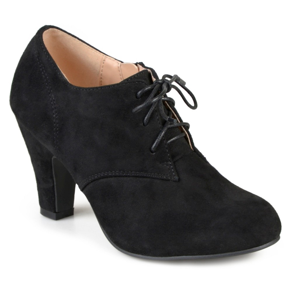 1940s Style Shoes Womens Journee Collection Leona Vintage Round Toe Lace Up Booties - Black 7.5 $44.99 AT vintagedancer.com