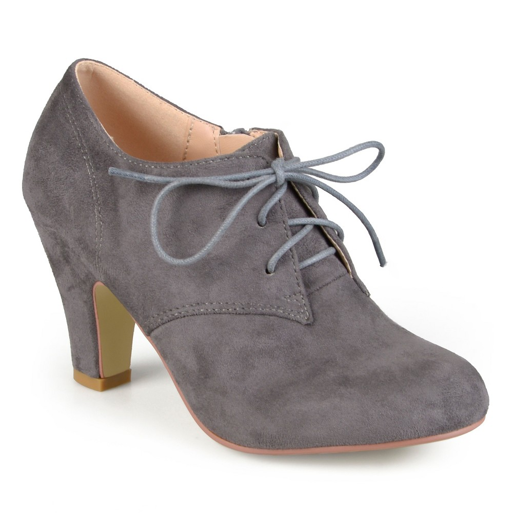 Womens Journee Collection Leona Vintage Round Toe Lace Up Booties - Gray 10