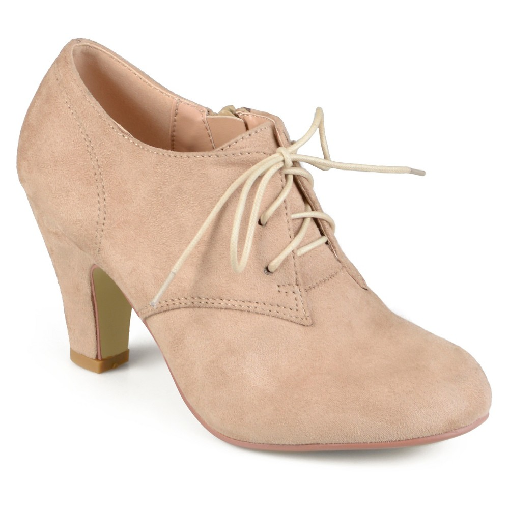 Womens Journee Collection Leona Vintage Round Toe Lace Up Booties - Taupe 7, Taupe Brown