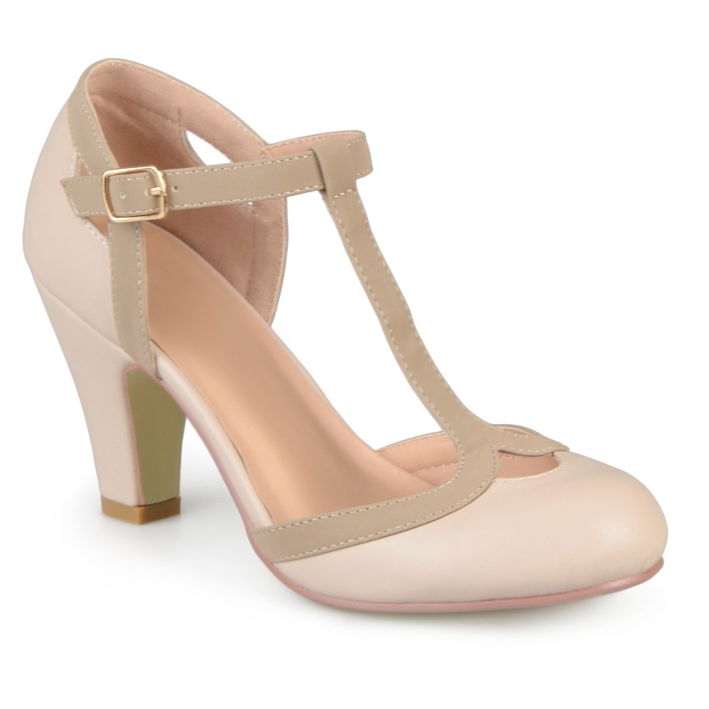 Womens Journee Collection Olina T-Strap Round Toe Mary Jane Pumps - Nude 6