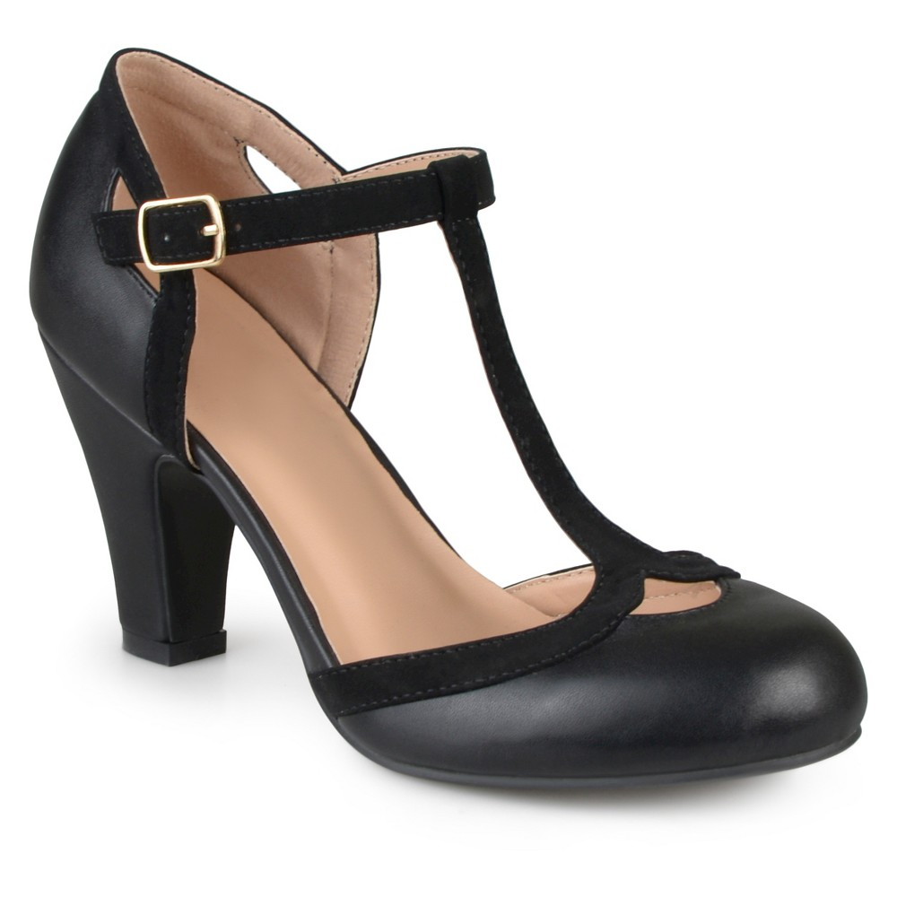 Womens Journee Collection Olina T-Strap Round Toe Mary Jane Pumps - Black 8.5