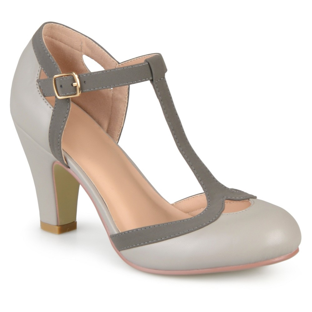 Womens Journee Collection Olina T-Strap Round Toe Mary Jane Pumps - Gray 11