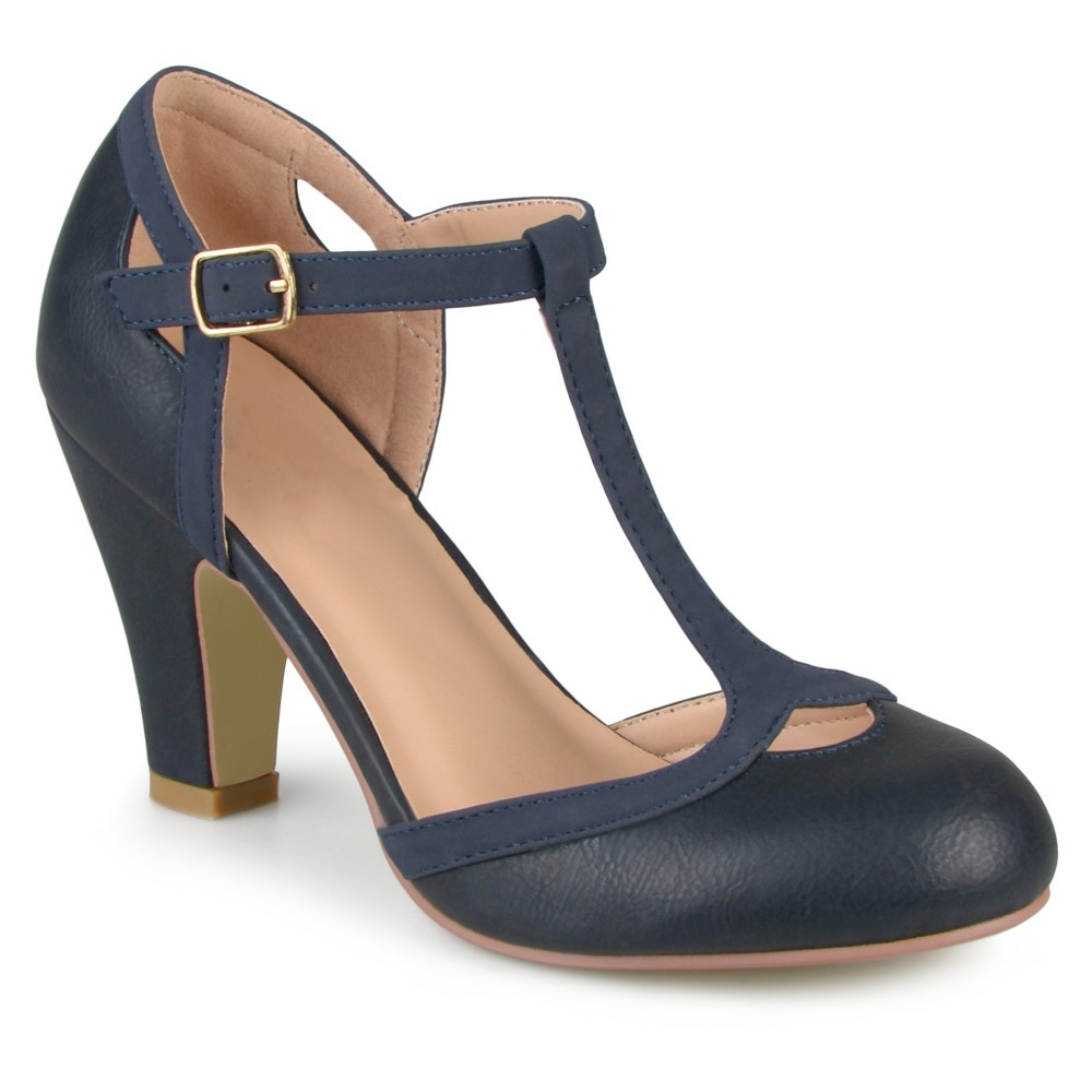 Womens Journee Collection Olina T-Strap Round Toe Mary Jane Pumps - Navy (Blue) 6
