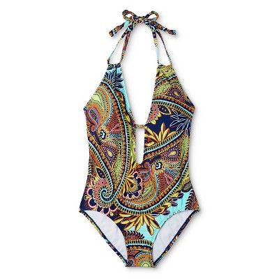 Women's Paisley Plunging One Piece Swimsuit Navy M - Clean Water, Blue