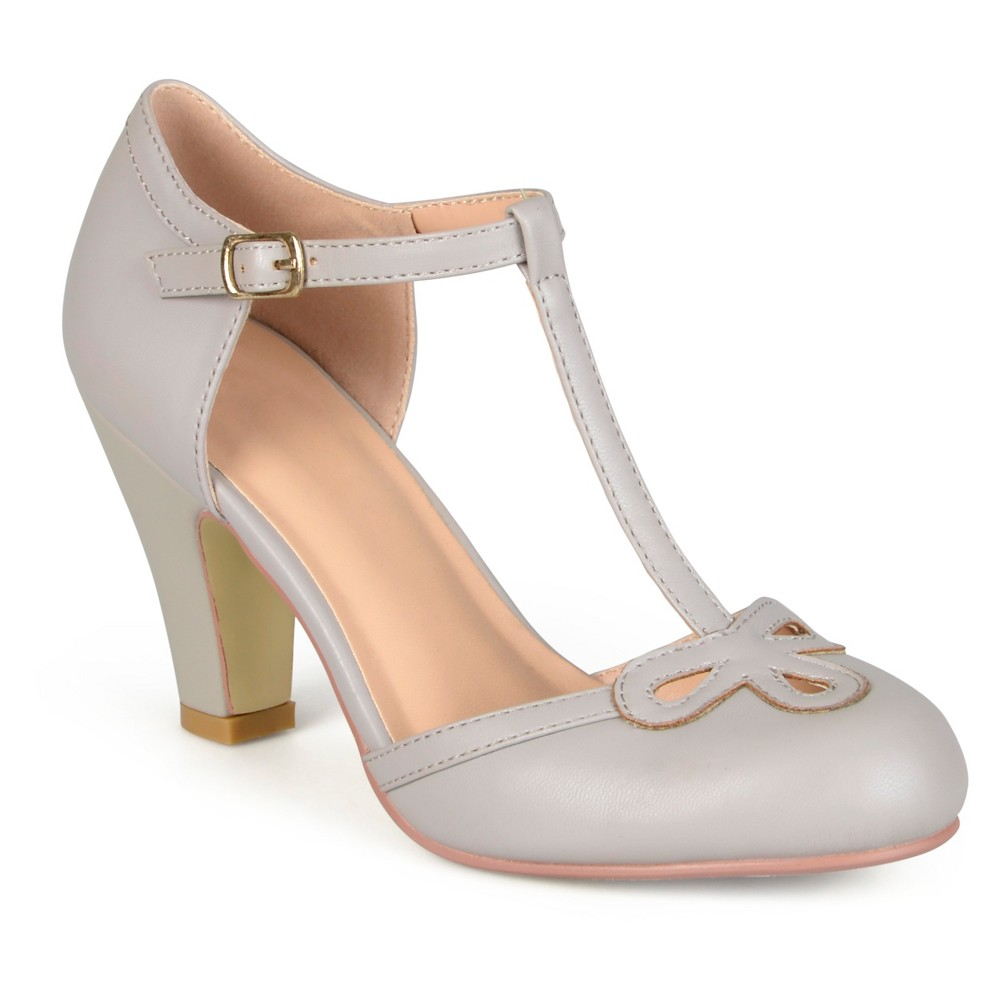 Womens Journee Collection T-Strap Round Toe Mary Jane Pumps - Gray 6