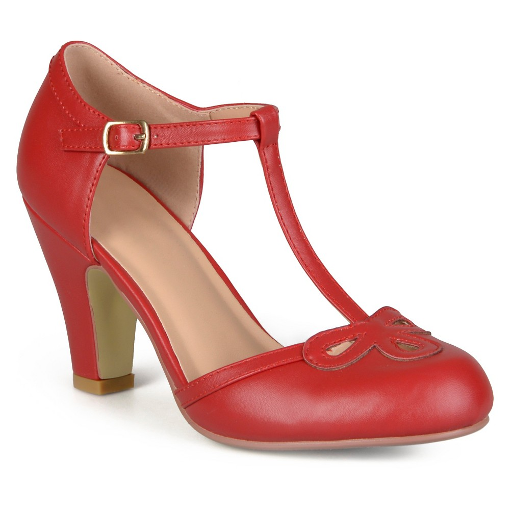 Womens Journee Collection T-Strap Round Toe Mary Jane Pumps - Red 6
