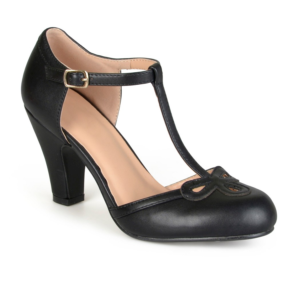 Womens Journee Collection T-Strap Round Toe Mary Jane Pumps - Black 8.5