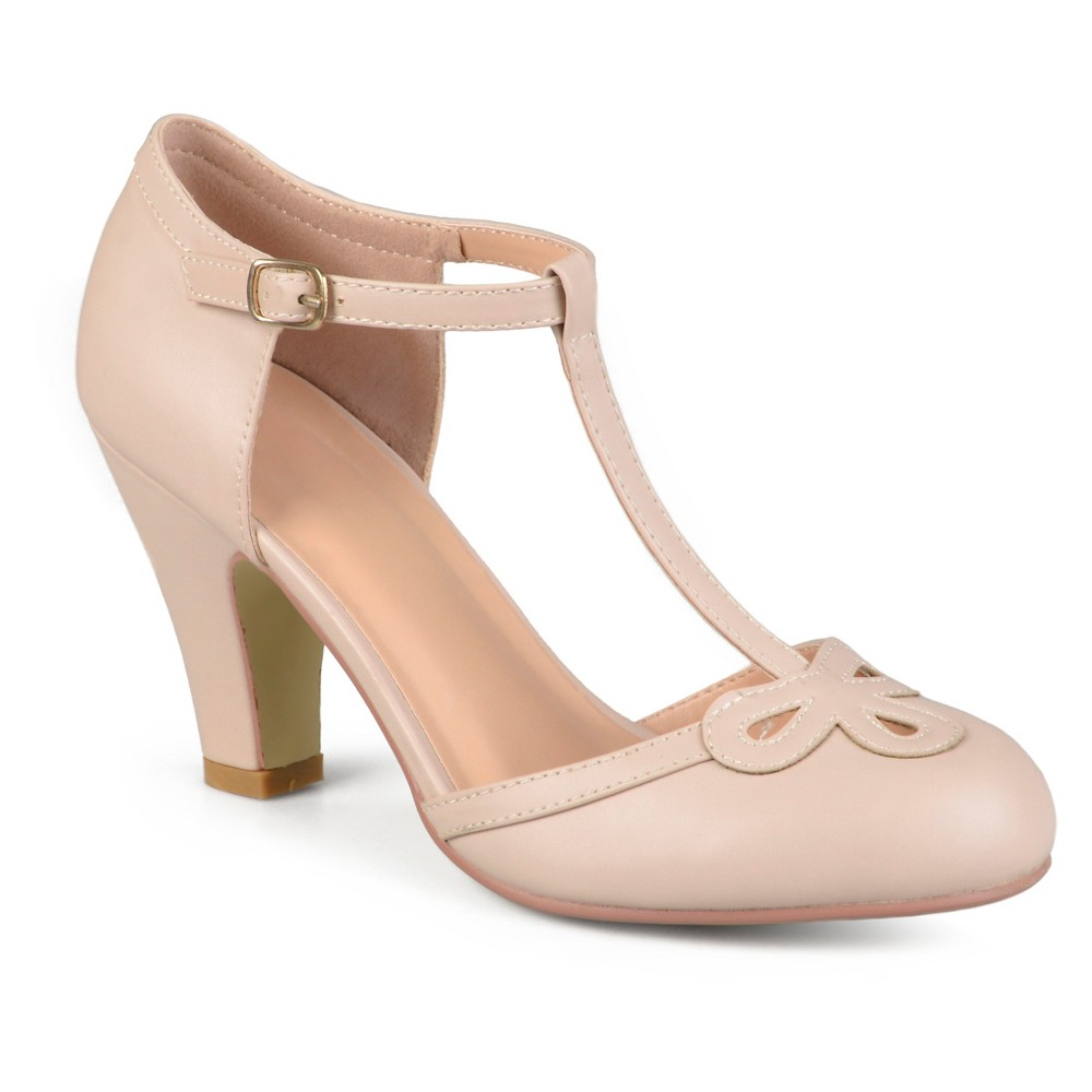 Womens Journee Collection Parley T-Strap Round Toe Mary Jane Pumps - Nude 11