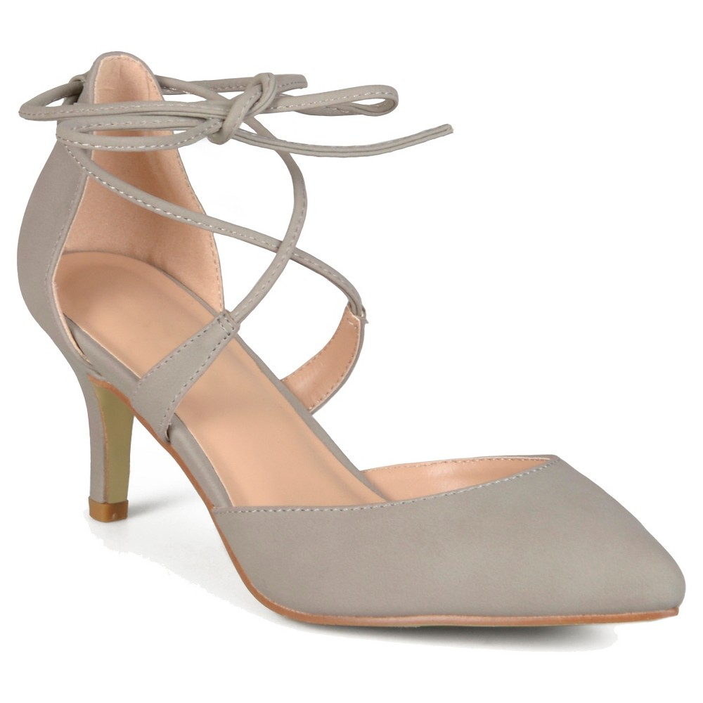 Womens Journee Collection Cairo Lace-up Ankle Strap Pointed Toe Mary Jane Pumps - Gray 8.5