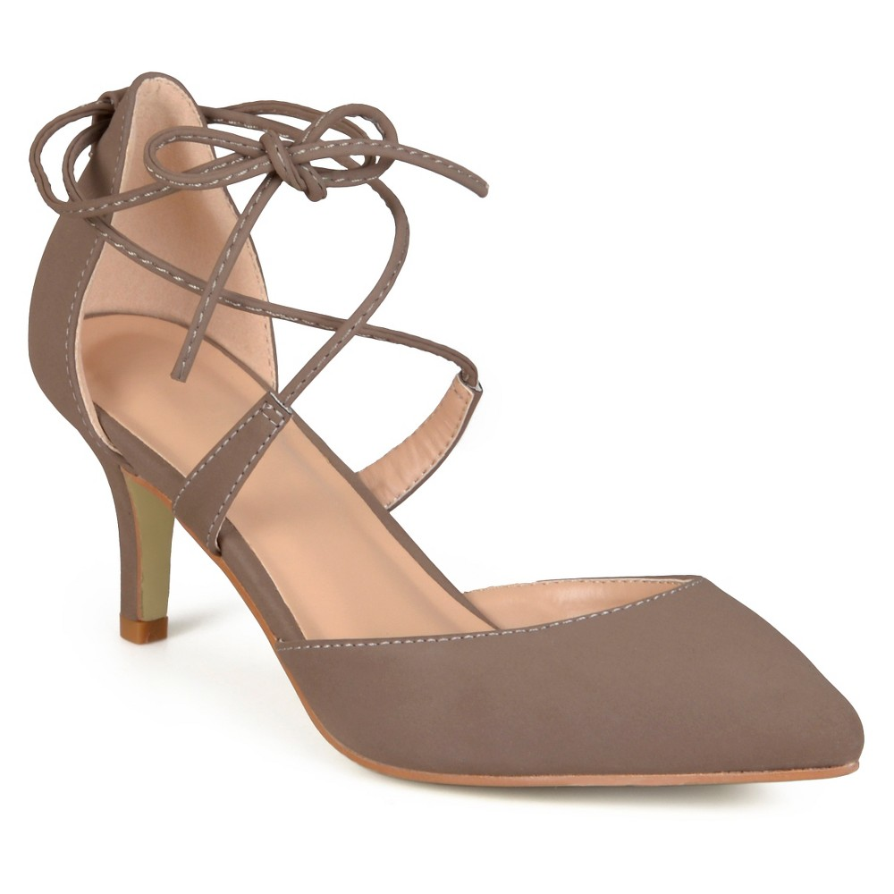 Womens Journee Collection Cairo Lace-up Ankle Strap Pointed Toe Mary Jane Pumps - Taupe 7, Taupe Brown