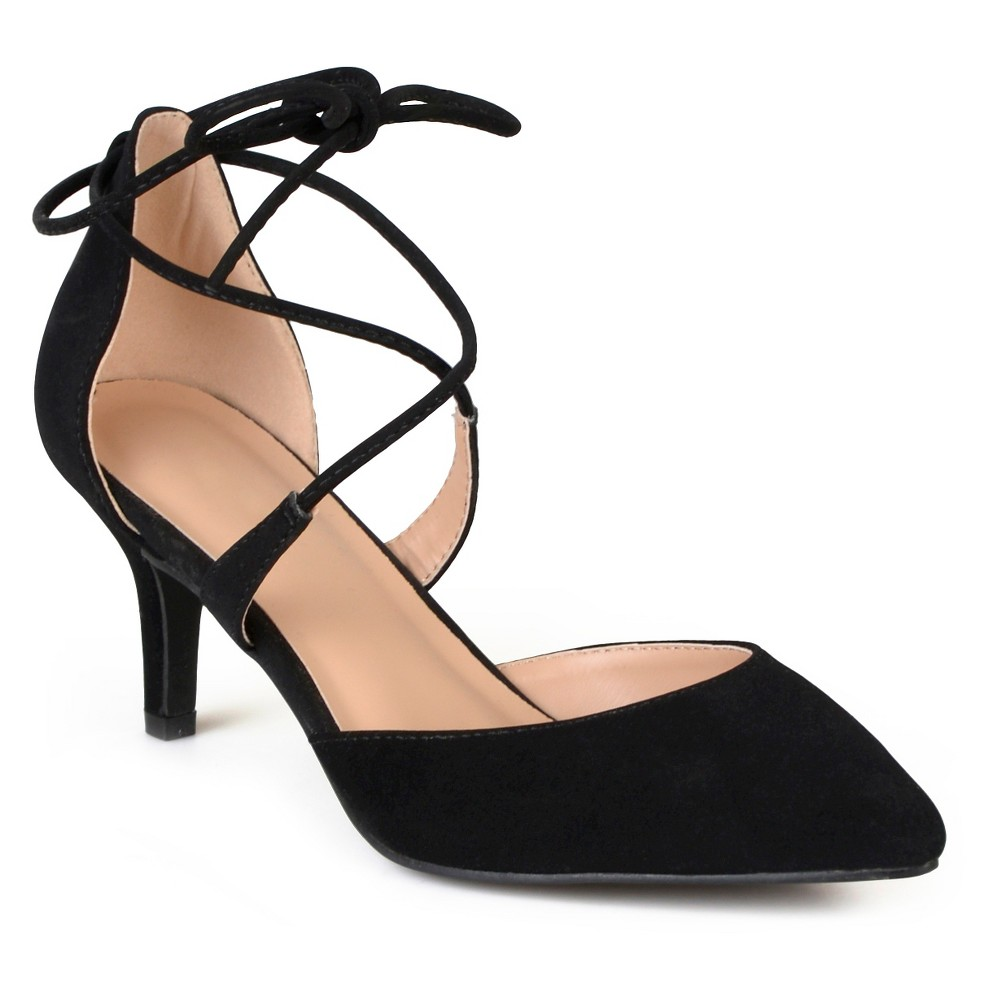 Womens Journee Collection Cairo Lace-up Ankle Strap Pointed Toe Mary Jane Pumps - Black 6.5