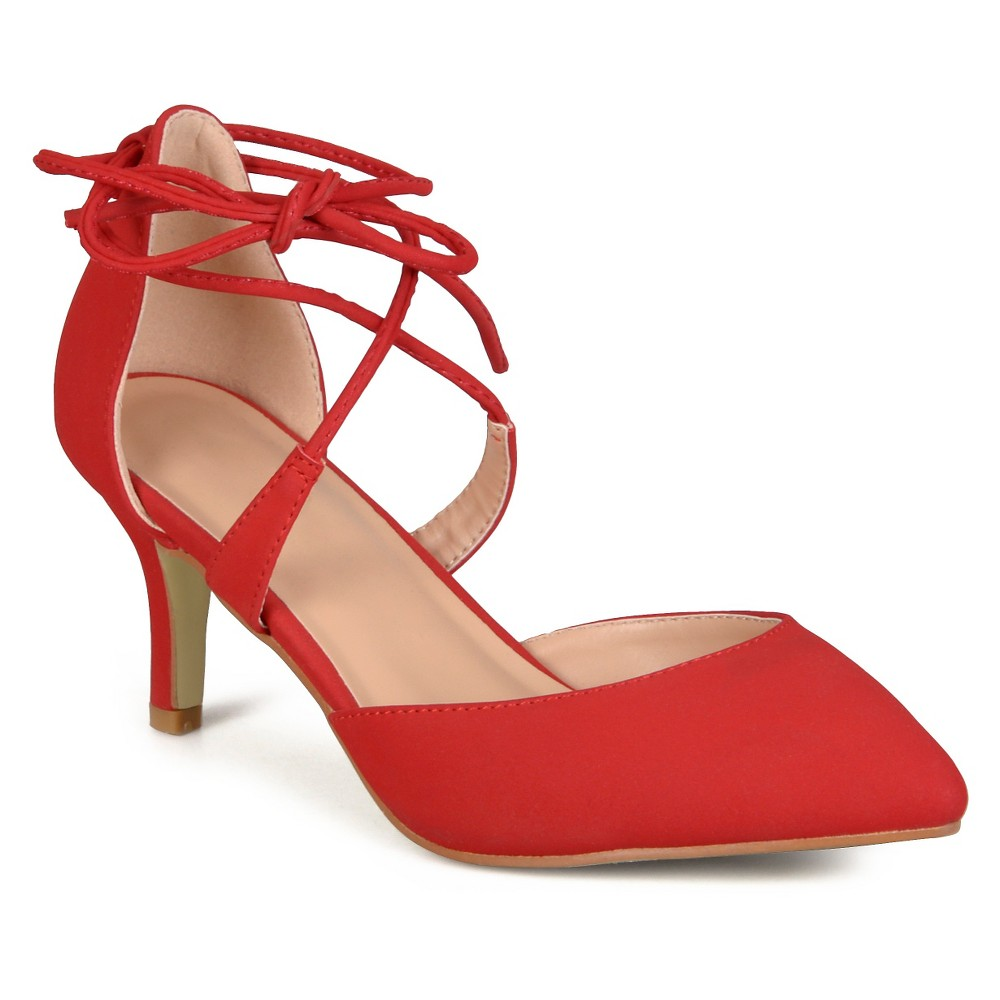 Womens Journee Collection Cairo Lace-up Ankle Strap Pointed Toe Mary Jane Pumps - Red 6.5