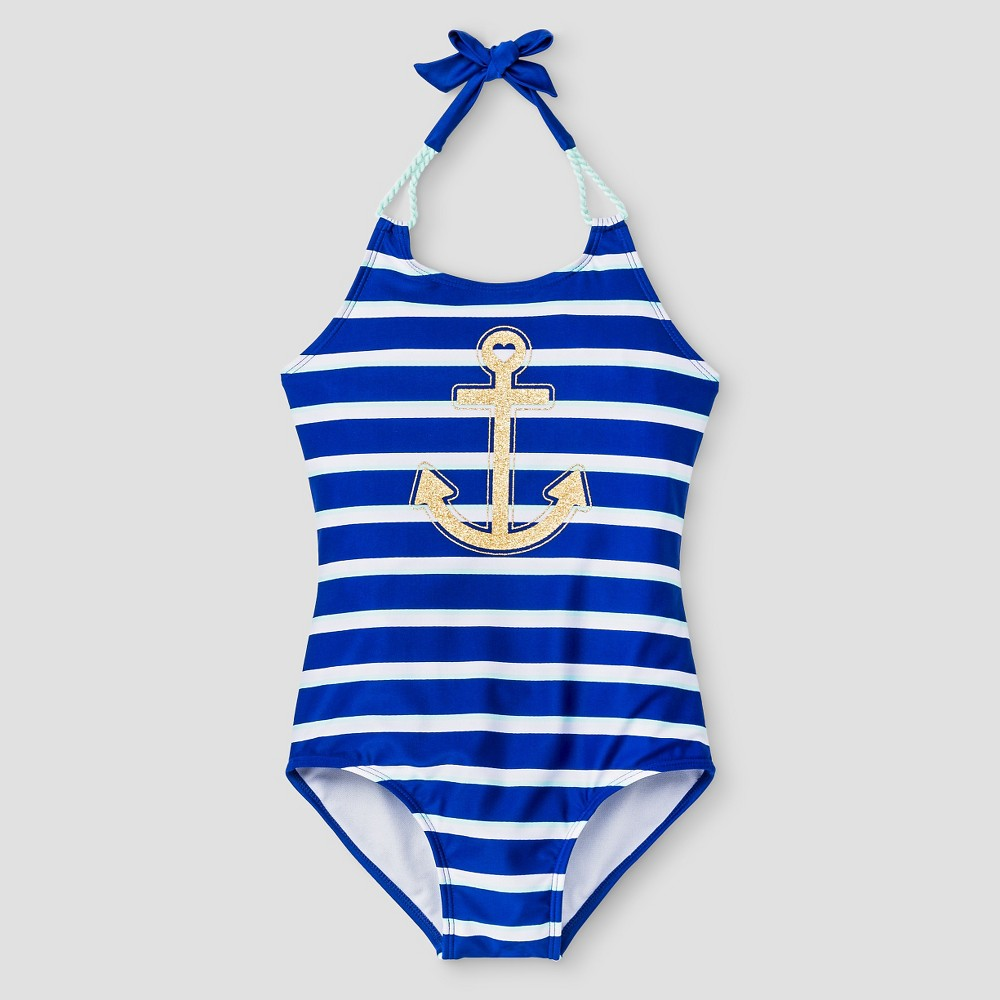 Girls Striped Anchor One Piece Swimsuit Blue M - Cat & Jack