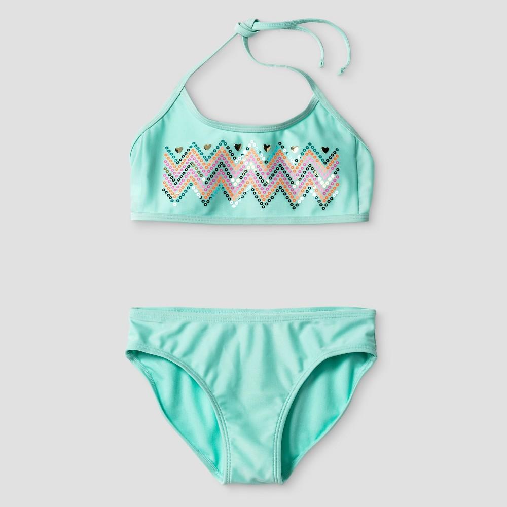 Girls Sequin Bikini Set - Xhilaration Mint XS, Blue