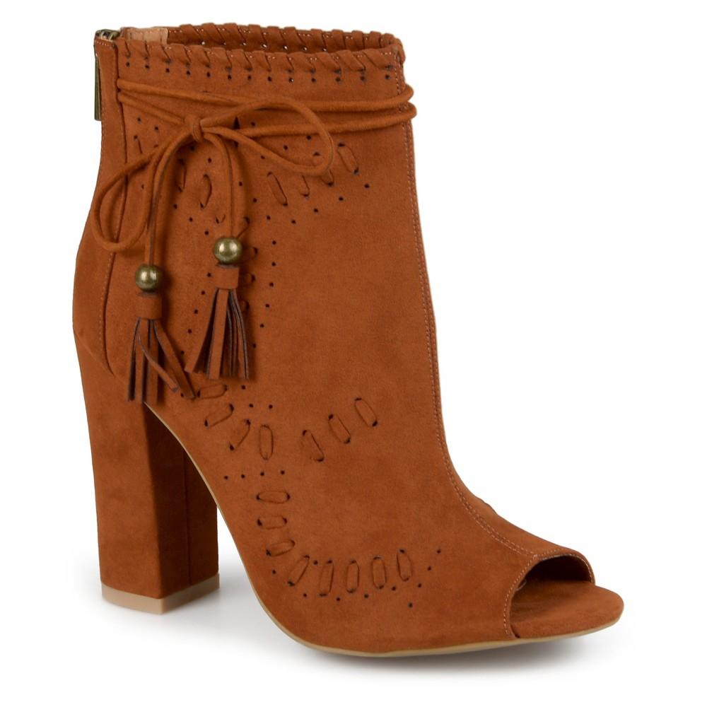 Womens Journee Collection Lara Peep Toe High Heel Booties - Chestnut 6, Dark Chestnut
