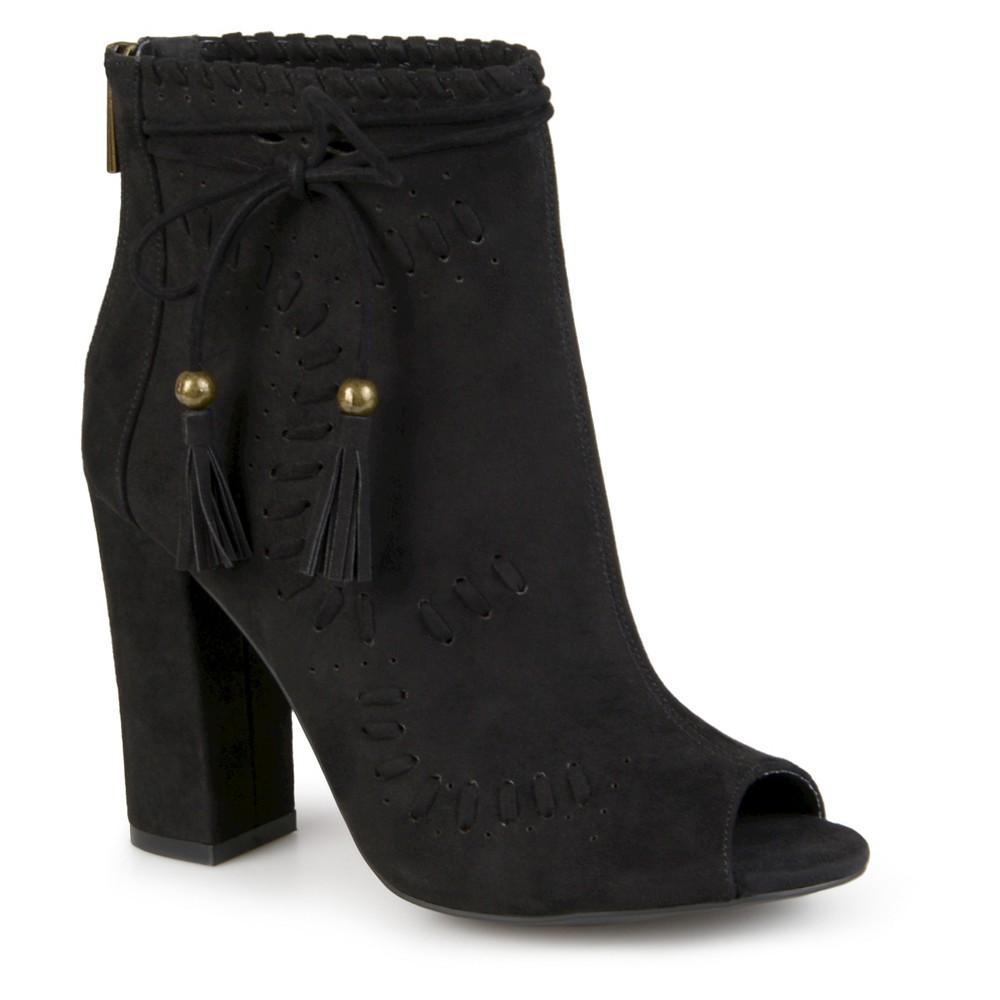 Womens Journee Collection Lara Peep Toe High Heel Booties - Black 8