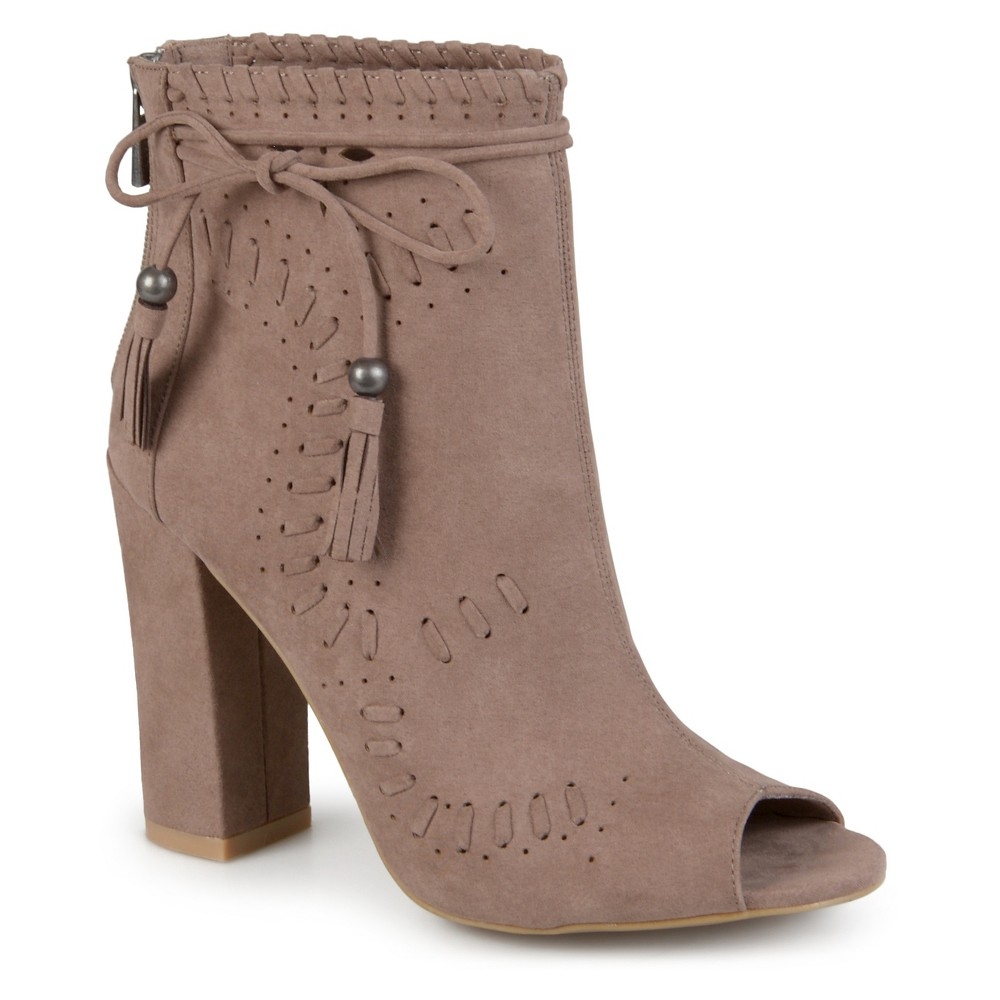 Womens Journee Collection Lara Peep Toe High Heel Booties - Taupe 8.5, Taupe Brown
