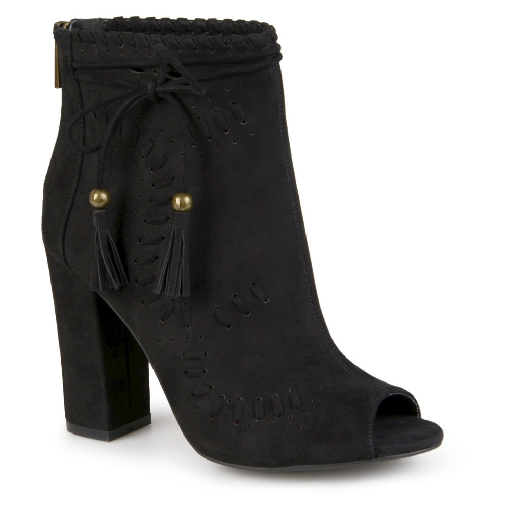 Womens Journee Collection Lara Peep Toe High Heel Booties - Black 8.5