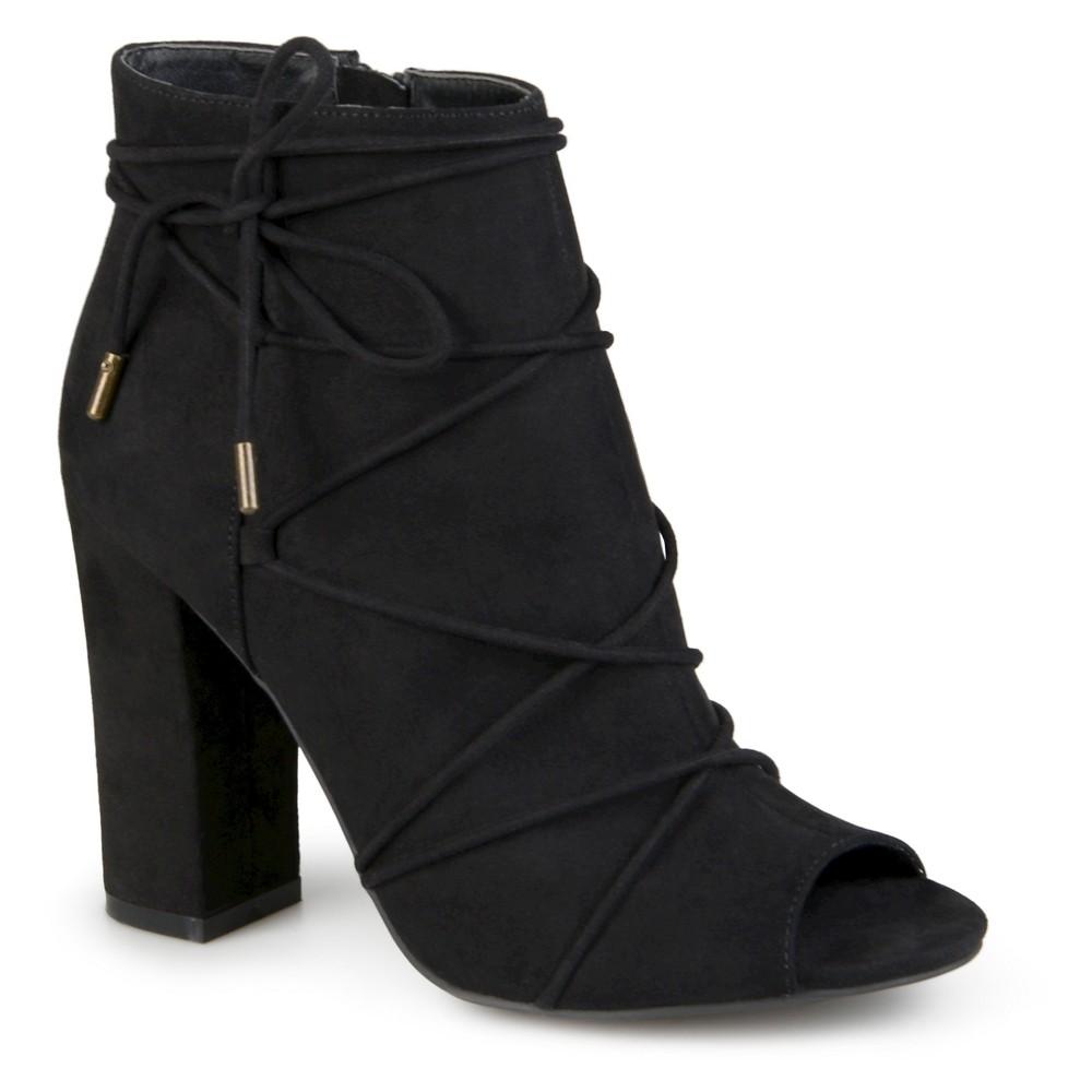 Womens Journee Collection Maci Peep Toe High Heel Booties - Black 6.5