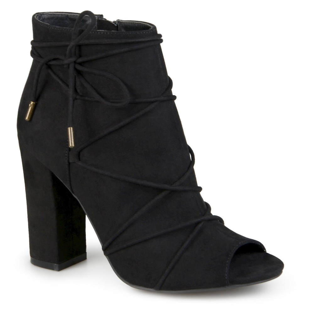 Womens Journee Collection Maci Peep Toe High Heel Booties - Black 11