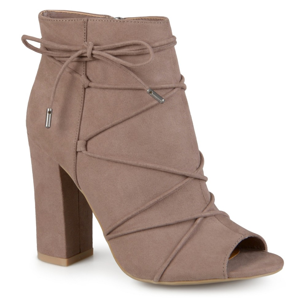 Womens Journee Collection Maci Peep Toe High Heel Booties - Taupe 6, Taupe Brown