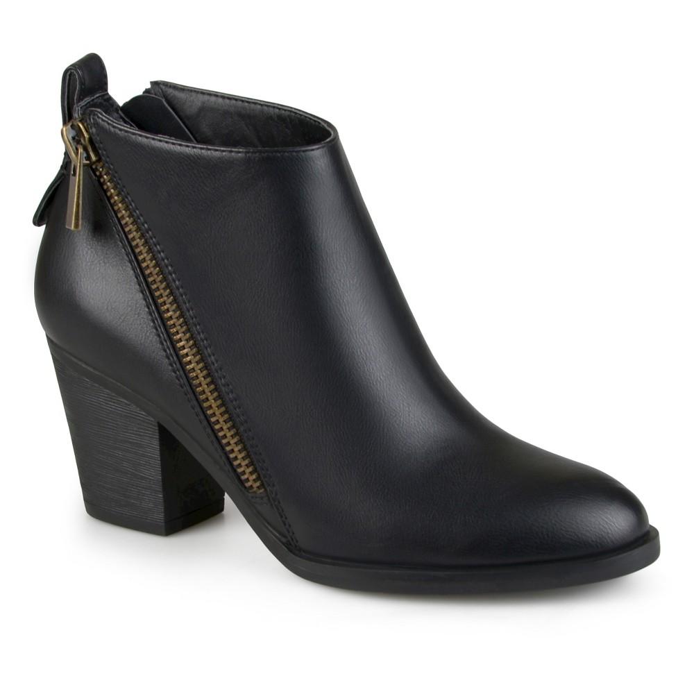 Womens Journee Collection Bristl Zippered High Heeled Booties - Black 7