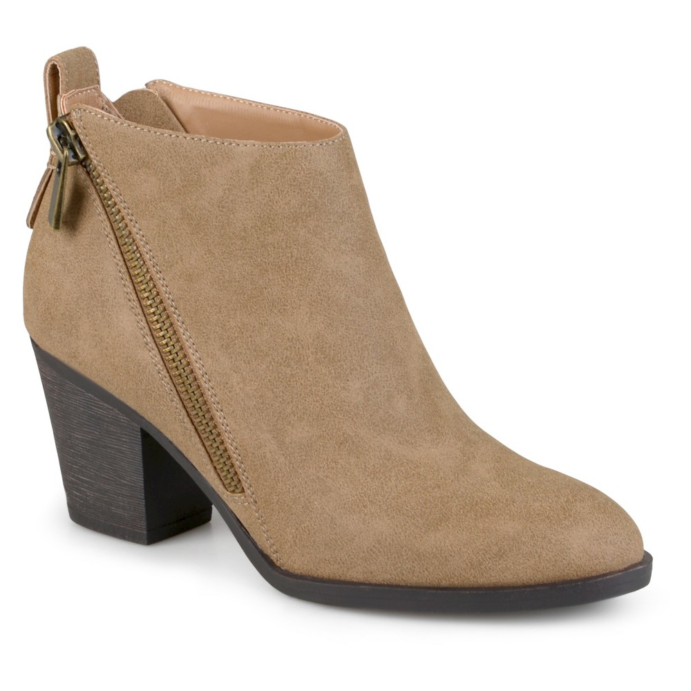 Womens Journee Collection Bristl Zippered High Heeled Booties - Taupe 8, Taupe Brown