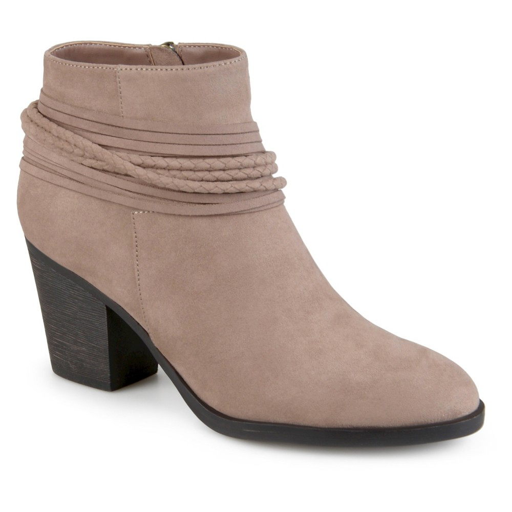 Womens Journee Collection Ceres Strappy High Heeled Booties - Taupe 6, Taupe Brown