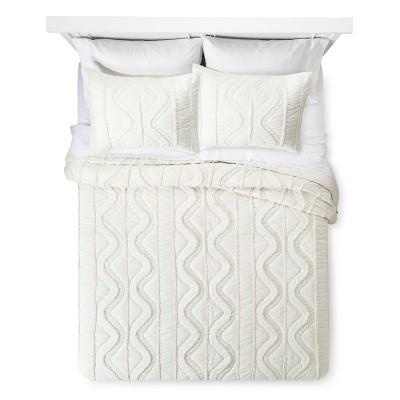 Cream Chenille Stitched Quilt (King)- Threshold™