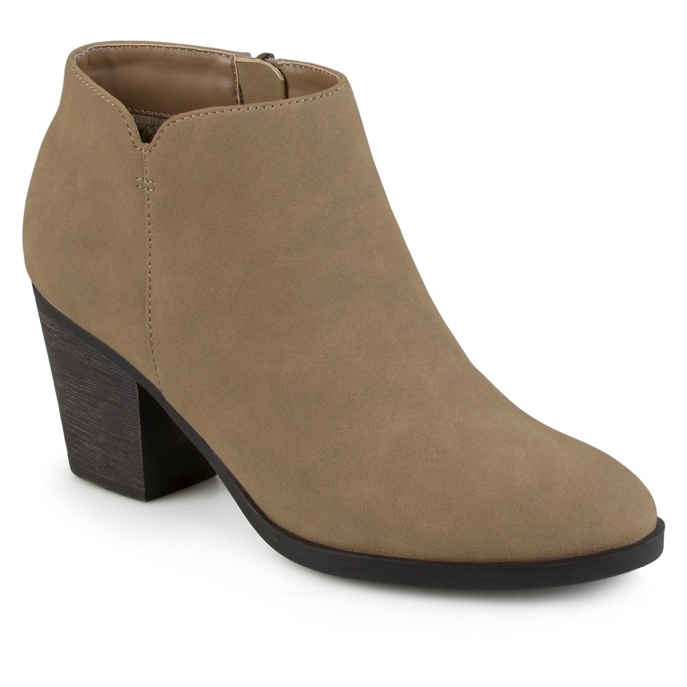 Women's Journee Collection Desie Round Toe High Heeled Booties - Taupe 8, Taupe Brown