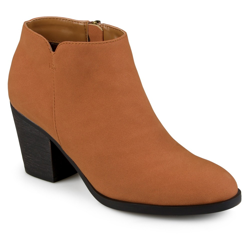 Womens Journee Collection Desie Round Toe High Heeled Booties - Brown 7