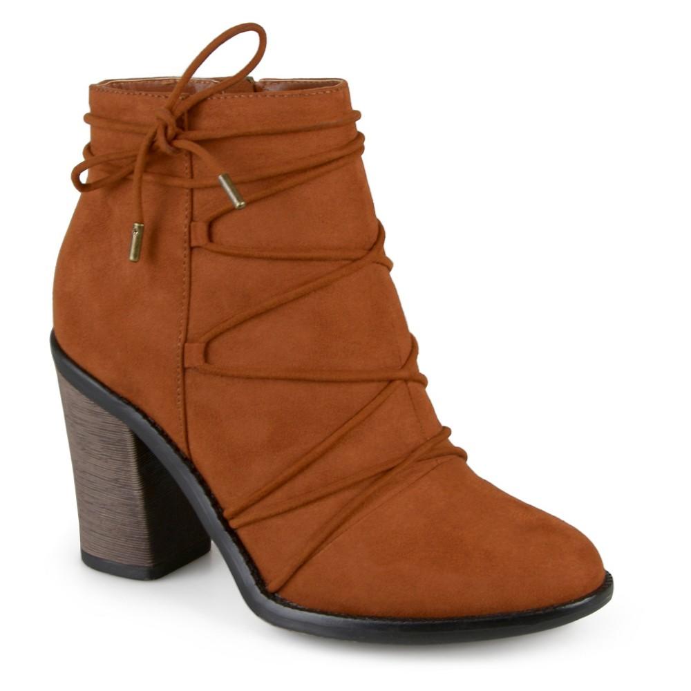 Womens Journee Collection Effie Round Toe High Heeled Booties - Chestnut 7, Dark Chestnut