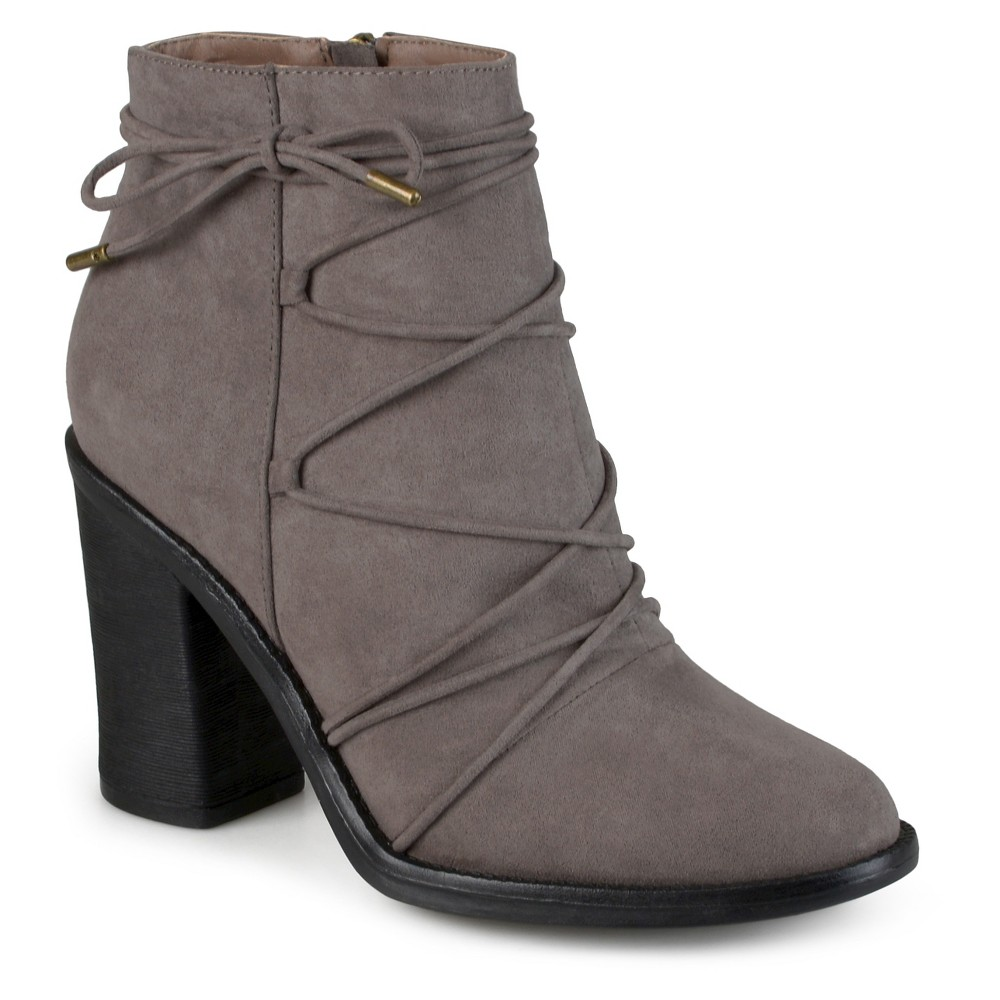 Womens Journee Collection Effie Round Toe High Heeled Booties - Gray 6.5
