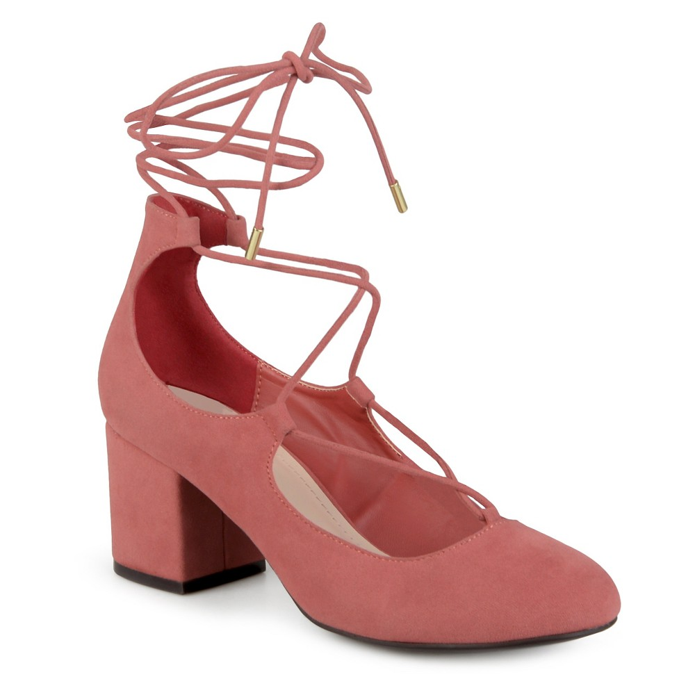 Womens Journee Collection Ferah Lace-up Faux Suede Pumps - Pink 8