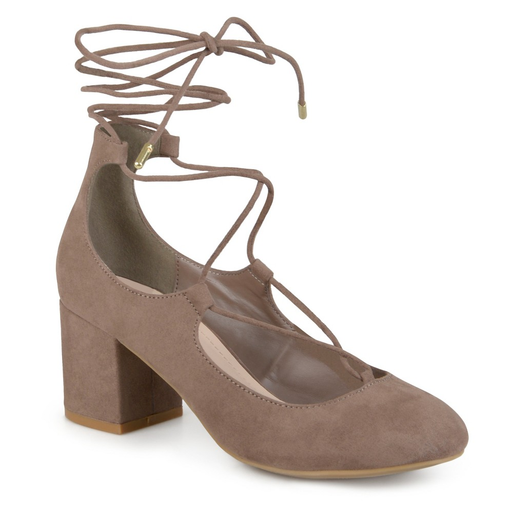 Womens Journee Collection Ferah Lace-up Faux Suede Pumps - Taupe 6.5, Taupe Brown