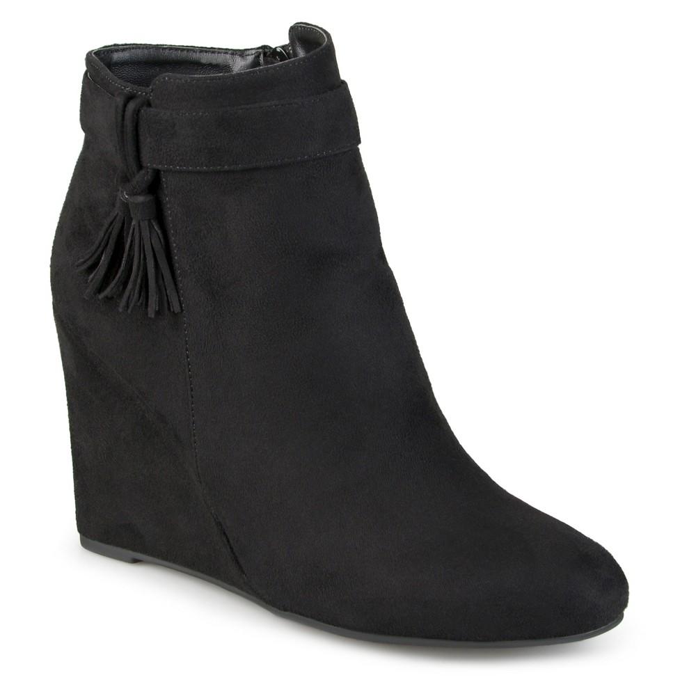 Womens Journee Collection Gia Tasseled Wedge Booties - Black 9
