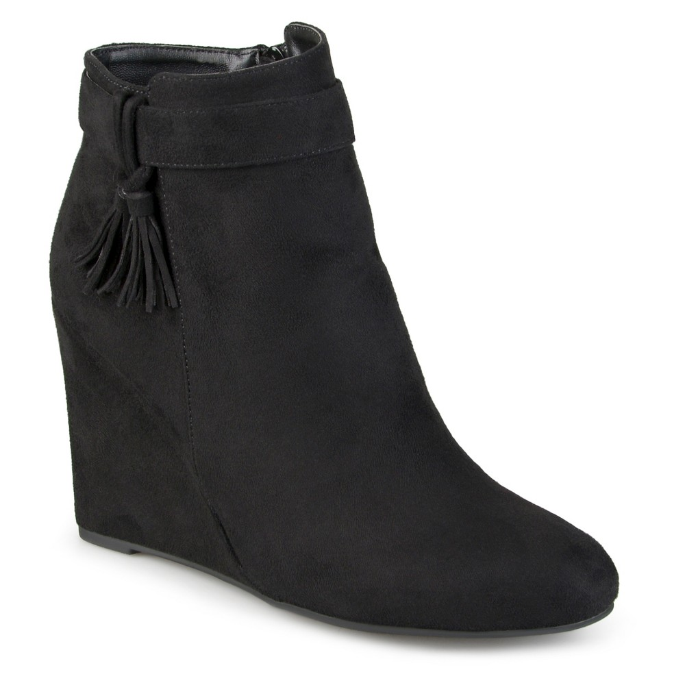 Womens Journee Collection Gia Tasseled Wedge Booties - Black 6