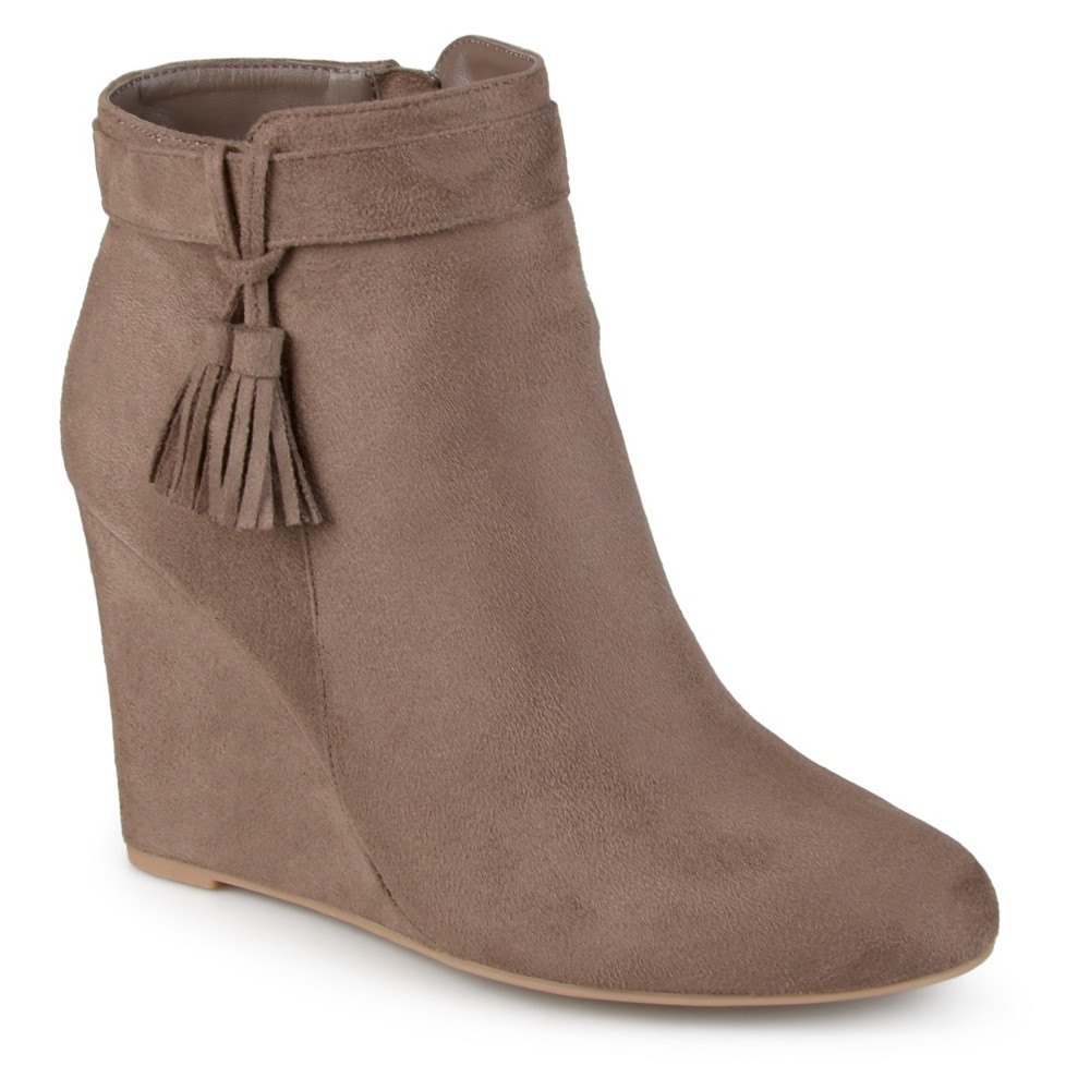 Womens Journee Collection Gia Tasseled Wedge Booties - Taupe 9, Taupe Brown