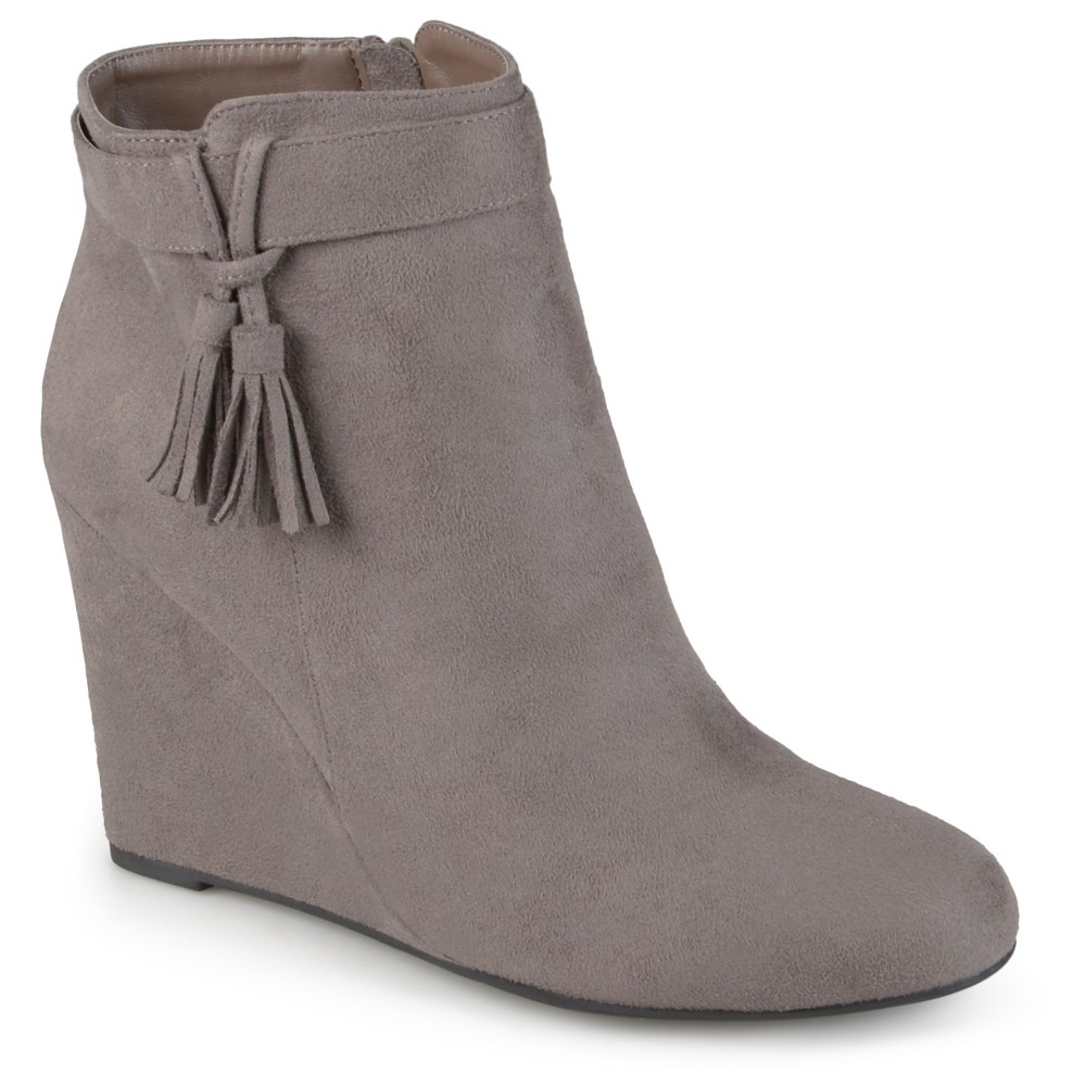 Womens Journee Collection Gia Tasseled Wedge Booties - Gray 8.5