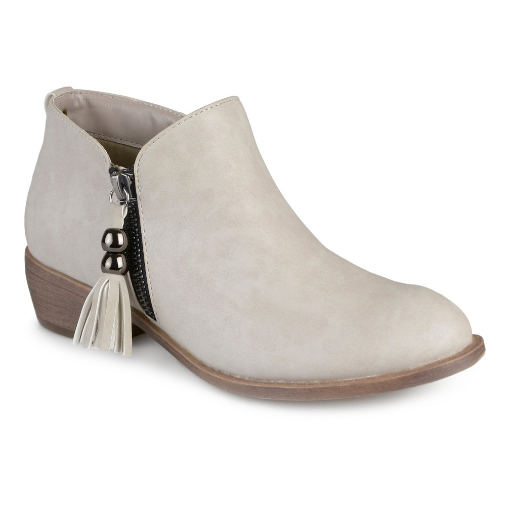 Womens Journee Collection Kizzy Faux Leather Zipper Booties - Stone (Grey) 8.5