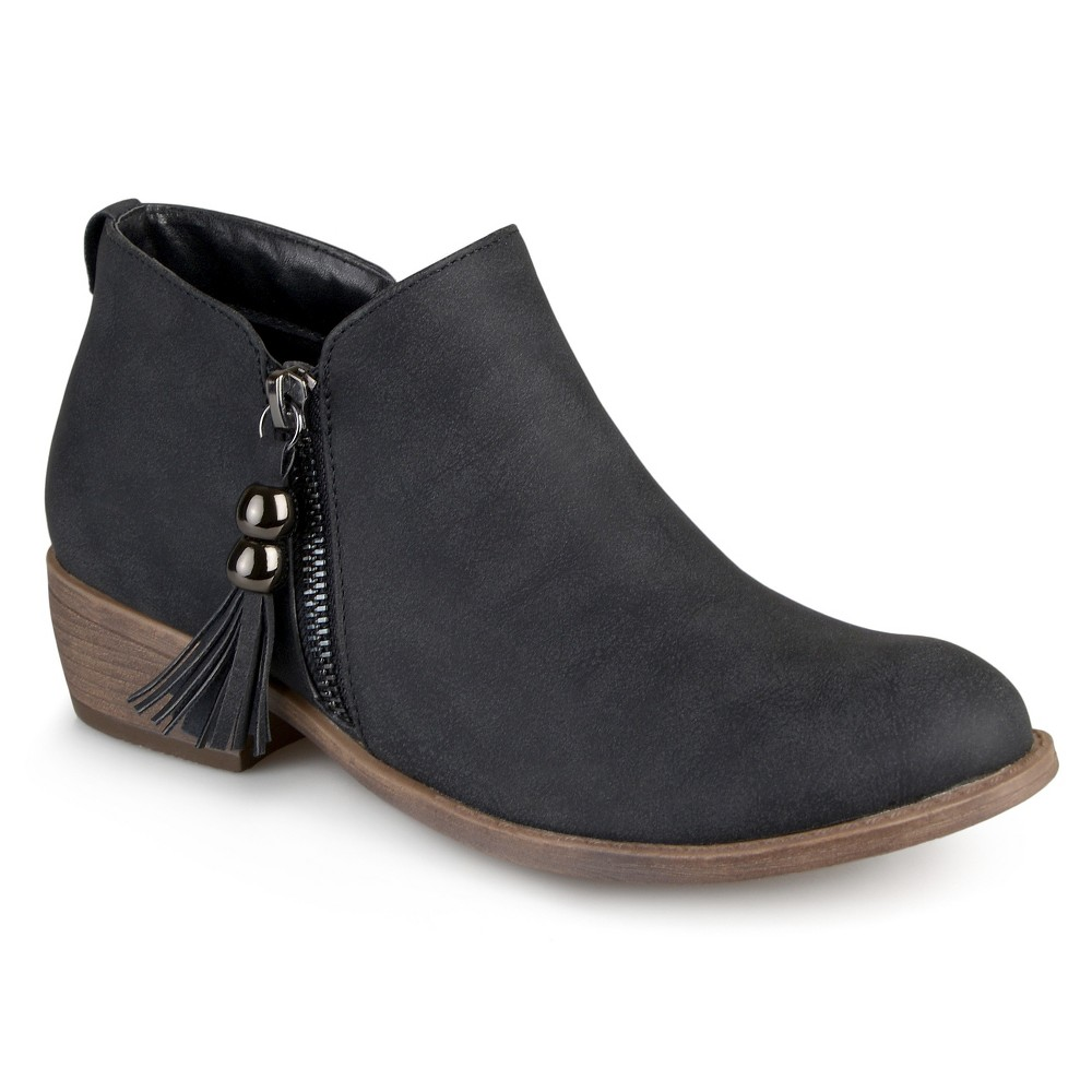 Womens Journee Collection Kizzy Faux Leather Zipper Booties - Black 6