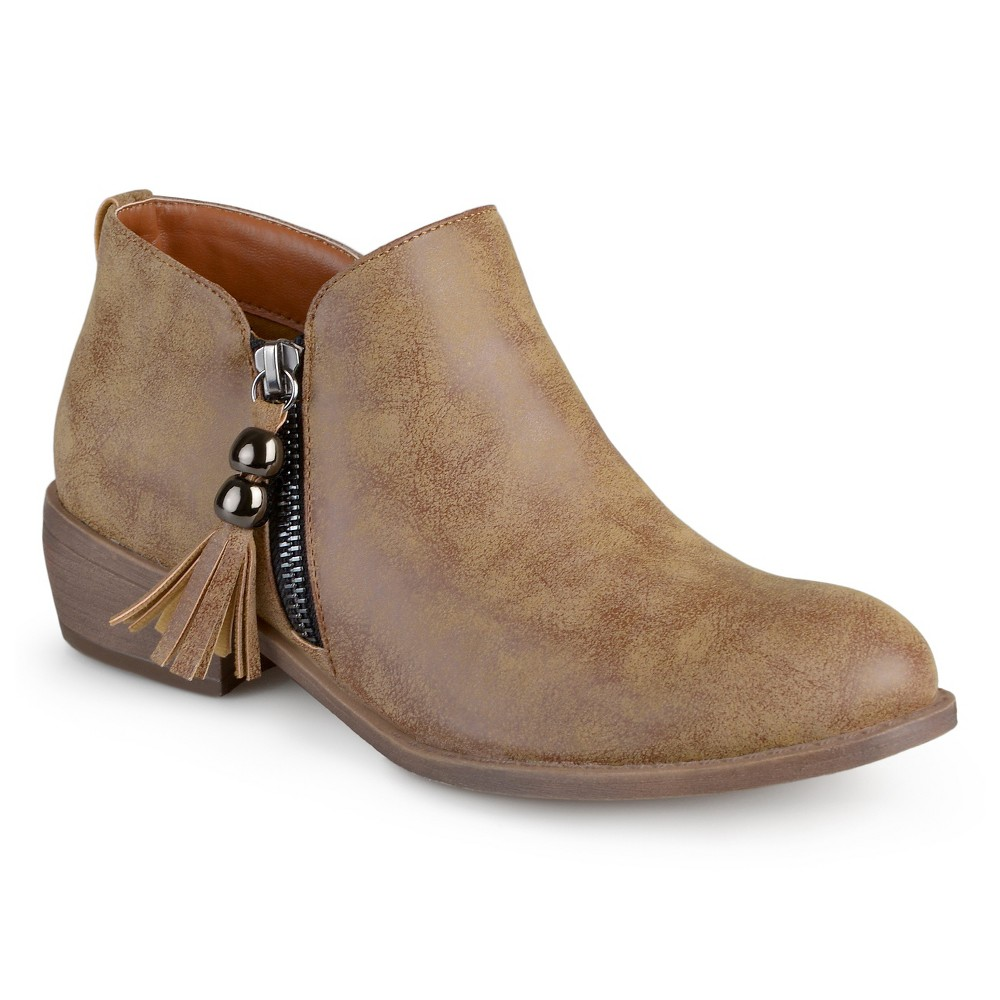Womens Journee Collection Kizzy Faux Leather Zipper Booties - Chestnut 7.5, Dark Chestnut