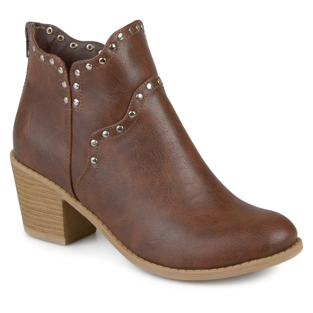 Womens Journee Collection Krisla Faux Leather Studded Booties - Brown 7.5