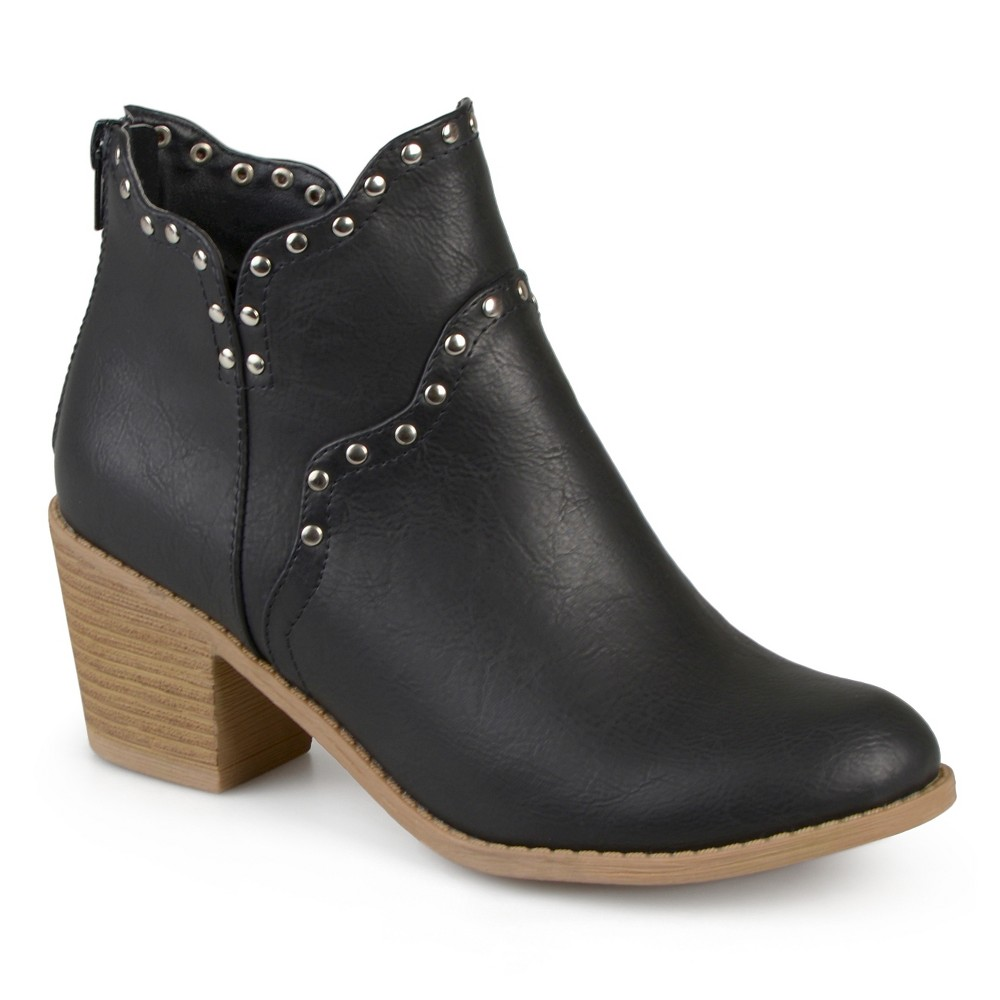 Womens Journee Collection Krisla Faux Leather Studded Booties - Black 7