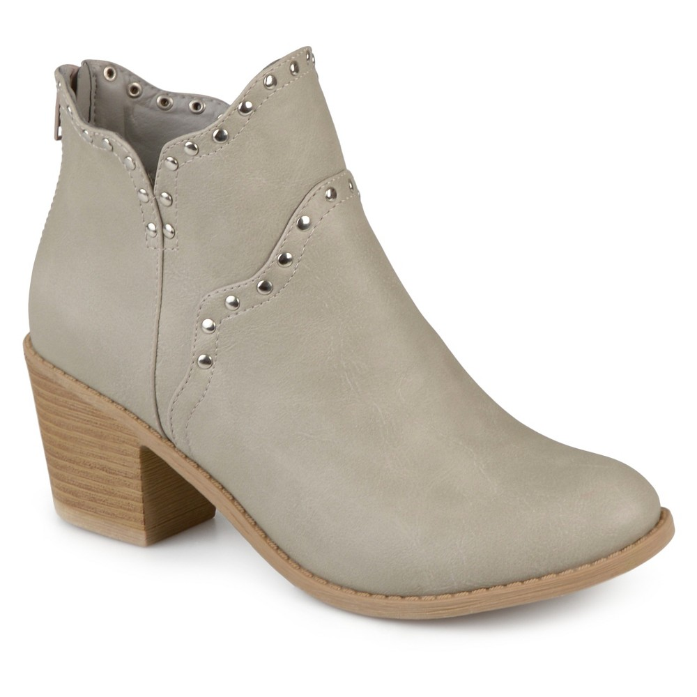 Womens Journee Collection Krisla Faux Leather Studded Booties - Stone (Grey) 6