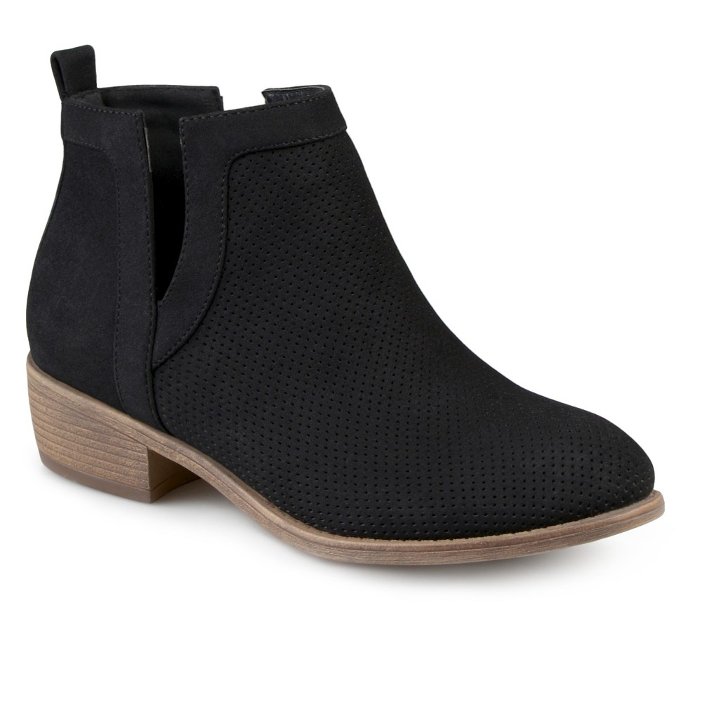 Womens Journee Collection Lainee Round Toe Pinhole Faux Suede Booties - Black 7.5
