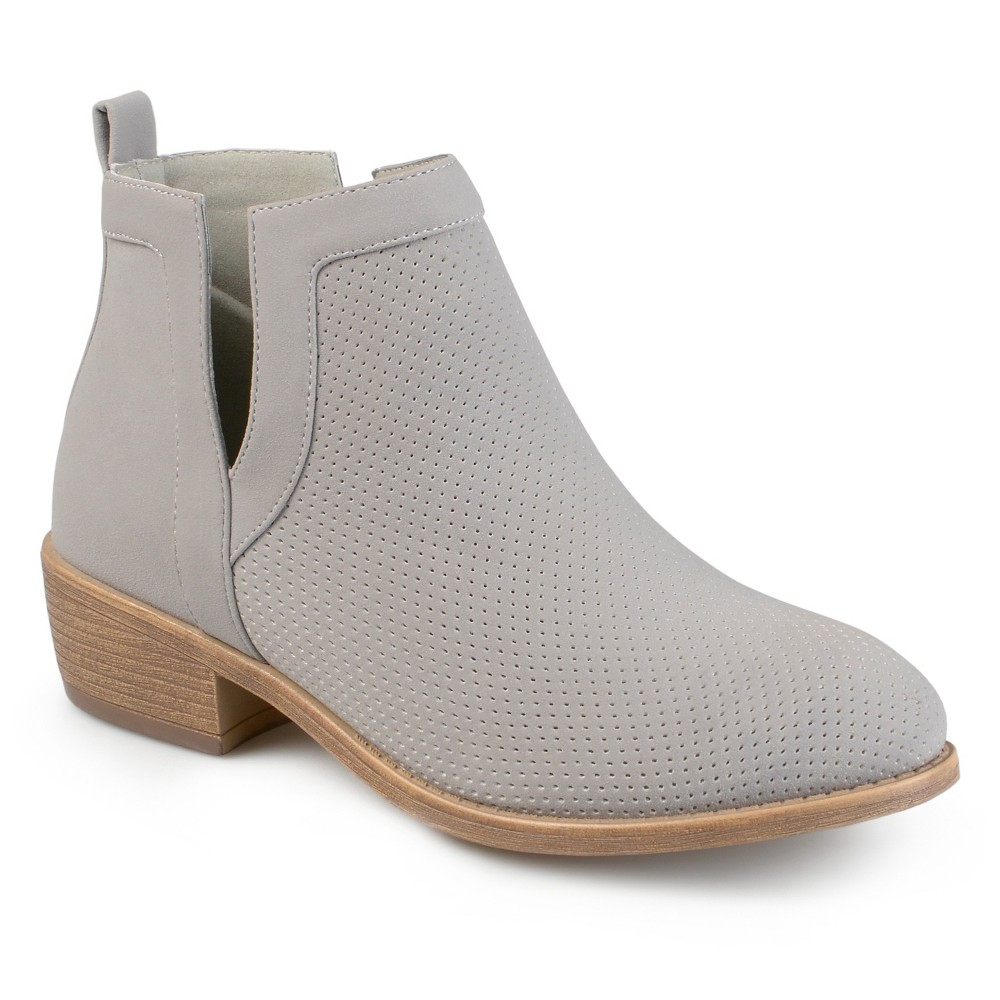 Womens Journee Collection Lainee Round Toe Pinhole Faux Suede Booties - Gray 8.5