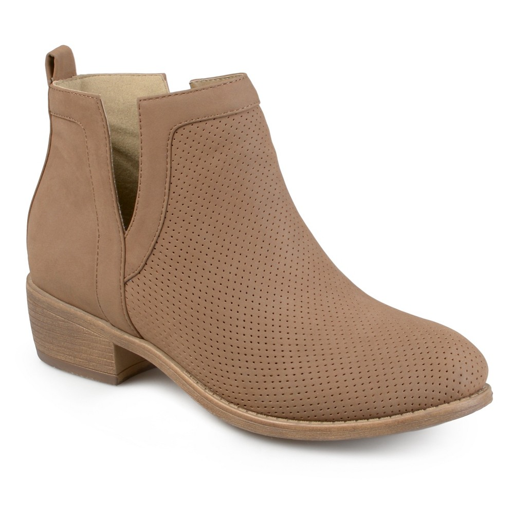 Womens Journee Collection Lainee Round Toe Pinhole Faux Suede Booties - Taupe 7, Taupe Brown